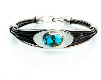 Sterling Silver Handmade Bangle with Turquoise