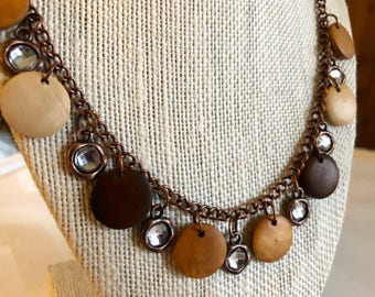 Wood and antiqued copper rhinestone charm necklace