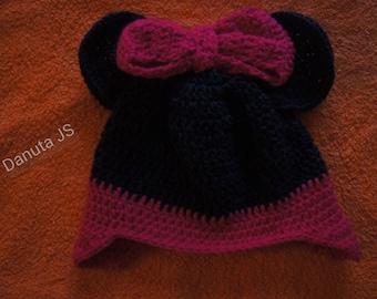 Girl Minnie Hat handmade crochet with acrylic yarn