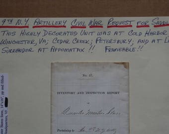 NEW LOW PRICE...Civil War requisition for saddles signed by Rice