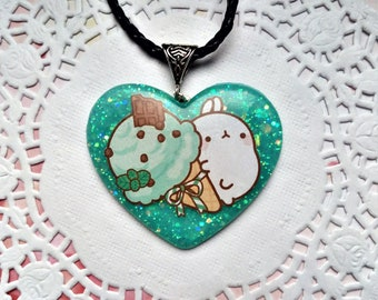 Molang heart necklace, kawaii necklaces, Molang stickers, resin