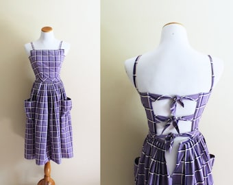 vintage dress 80's does 50's purple plaid sun sleeveless backless hourglass 1980s 1950s womens clothing size small s