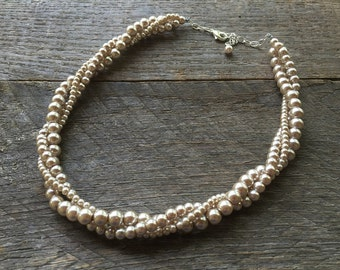 Champagne Pearl Necklace, Spring Wedding Necklace, Pearl Bridal Twisted Necklace, Gift for Her on Silver or Gold Chain
