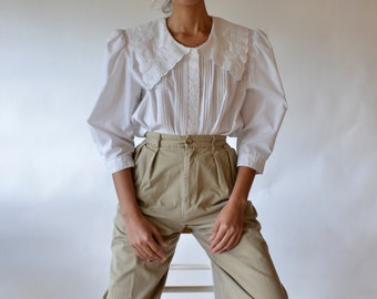 80s cotton blend pilgrim embroidered collar puff sleeve, pintuck blouse // xs-l