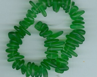 Green Pebble Nugget Sea Glass Spacer Beads 8 Inch Strand Seaglass Bead Chip Spacers