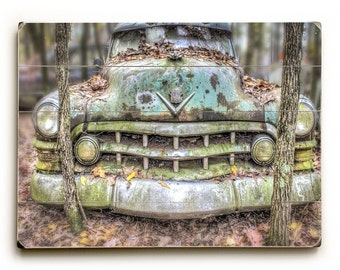 1950 Cadillac, Wood Plank Art, Wood Sign Art, Rustic Photography, Automobile Art ,Home Decor, Man Cave Decor