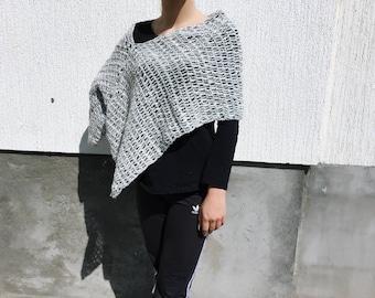 white grey poncho