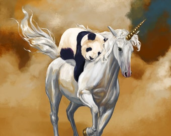 Panda and Unicorn art print // pigment print, archival, 11x14 //  panda unicorn // Kids' Room Decor, geeky gift, cute gift, fantasy art