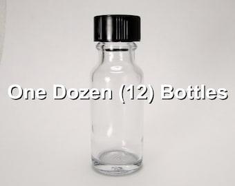 1/2 oz. (0.5 oz. / 15ml) Clear Bottles with Black Screw Caps - One Dozen (12) Bottles