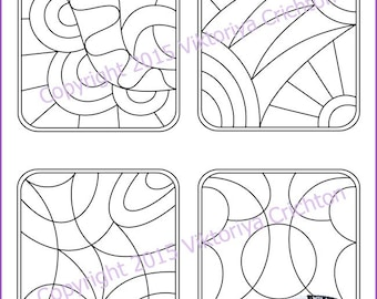 Strings for drawing zentangles. Tangle pattern printable string 9, PDF.