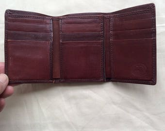 Vintage brown Leather wallet, Small brown leather wallet, Pocket wallet.