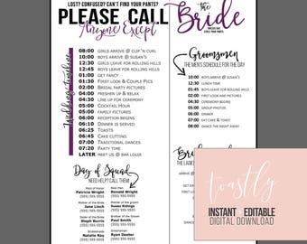 Wedding day timeline | Etsy