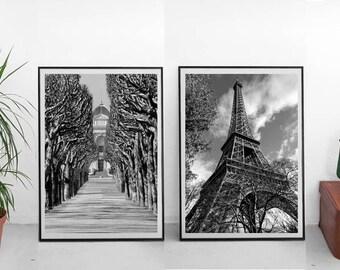 Paris photography, Eiffel Tower Photo, Paris black and white City photography, French wall decor Paris downloadable, Paris wall art set of 2