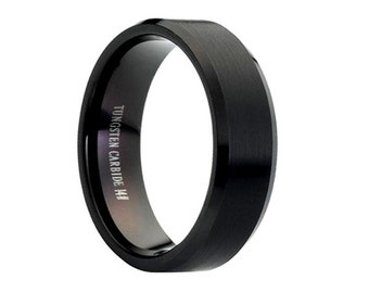 Tungsten Wedding Band,8mm,Black Wedding Band,Mens Wedding Band,Engraving,Anniversary,Brushed,Polish,Size,Mens Ring,Mans,Rings,Set,His Hers