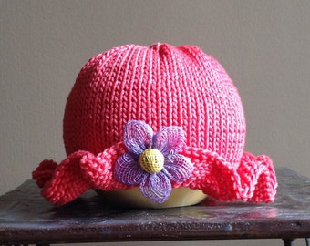 In Stock - SALE - 25% off Handknit Ruffled Infant Hat  Coral Cotton Net Button