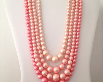 Pink Pearl Necklace Vintage 50s Four Strands