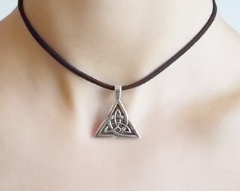 triquetra choker necklace - triangle necklace - black choker with charm - simple choker for women