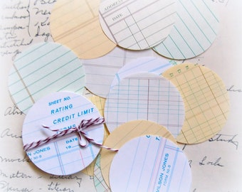Vintage Ledger Paper Circle Journal Tags