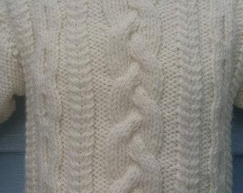 Handknit infant Cable Cardigan Aran soft white color, Size 12 months