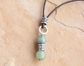 OLIVE JADE necklace, Olive Green beads, Olive Green Jade necklace, Green Pendant necklace, Green and Silver necklace