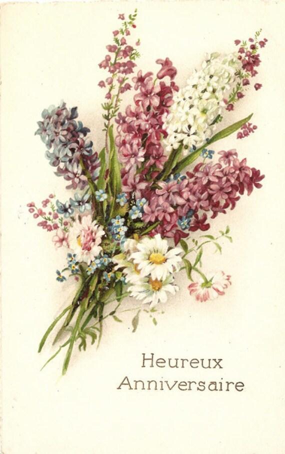 Lilacs & Daisy Flower Bouquet Antique Chromo French Postcard