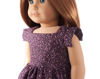 """American Girl doll clothes - modern square party dress for 18 inch dolls, 18"""" doll clothing, purple reproduction fabric, trendy fall fashion"""