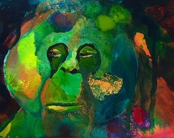 Old Wisdom - Orangutan Painting - Original Acrylic art on Gessobord - 5 x 7 inches (13 x 18 cm)