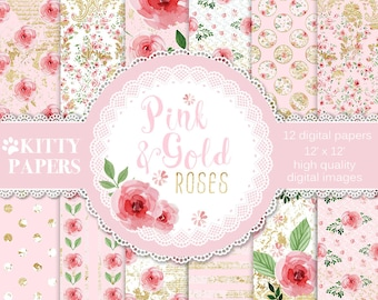 "Floral digital paper : "" Pink and Gold Roses "" shabby chic digital paper with watercolor pink roses on pink and gold foil ornaments"