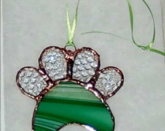 Stained Glass Paw Print Suncatcher - emerald and clear