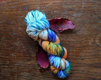 Floating Leaves Hand Dyed 100g Yarn Speckled Skein Merino Wool