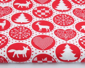 100% cotton fabric piece 160 x 50 cm, 100% cotton print red circles on a background pattern