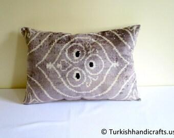 Free Shipping ! Set of 2 Silk Velvet Pillow Cover, Velvet Ikat Pillow Cover, Silk Uzbek Velvet Pillow Cover, Handmade Silk Velvet Pillow