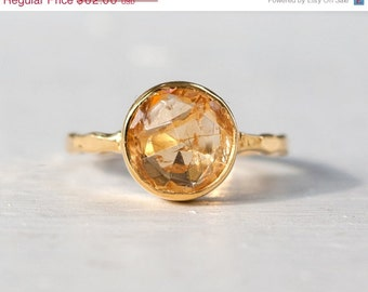 40 0FF - Citrine Ring - November Birthstone Ring - Gemstone Ring - Stacking Ring - Gold Ring - Round Ring