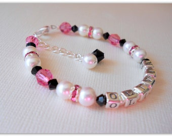 Personalized Name Baby Infant Baptism Communion Confirmation Flower Girl Swarovski Pearl and Crystal Bracelet B239