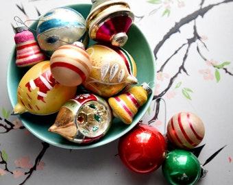 Shiny Brites and Vintage Ornaments - Set of 11 - Set A - reflector ornament