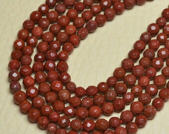 1 Strand of 3-4 mm round faceted Red Jasper beads   (#J1476)