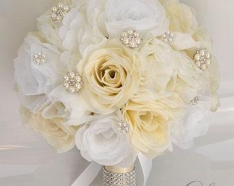 17 Piece Package Wedding Bridal Bouquet , Handmade bouquet, Silk Flowers  bouquet