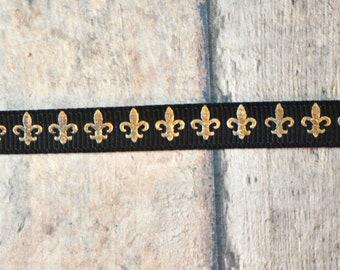 Fluer de Lis gold foil 3/8 ribbon