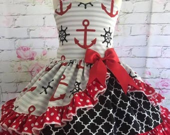 Anchor dress with peek a boo back