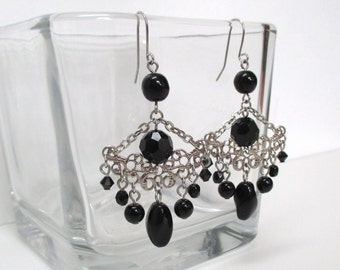 Black Earrings, Beaded, Chadelier Style, Filigree Design, Half Moon, Crystals, light weight ON SALE!!!
