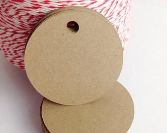 Circle Tags - Jewelry Tag - Rustic Wedding Tag - Kraft Gift Tag - Merchandise Tag - Price Tag - Blank Gift Tag - Wishing Tree Tag -