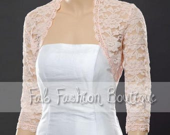 Pink 3/4 sleeved lace bolero jacket shrug Size S-XL, 2XL-5XL