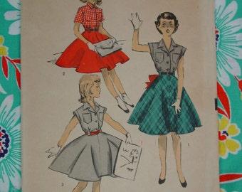 Vintage Pattern c.1950's Advance No.6488 Girls Dress, Size 10