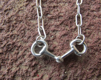 Tiny Petite Snaffle Sterling Silver Eggbutt Horse Bit Cowgirl Equestrian Necklace