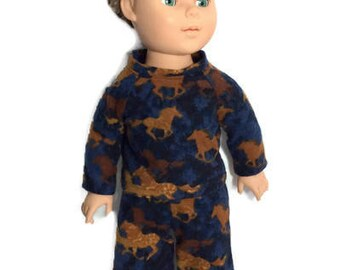 Horse Pajamas, 18 Inch Boy Doll Flannel Pajamas, Blue and Brown Flannel Pyjamas, fits 18 Inch Dolls