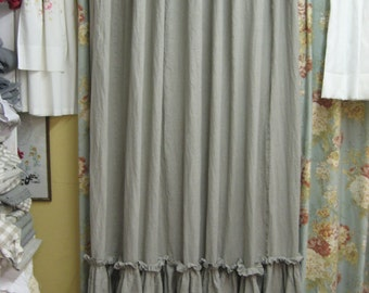 Ruffled Shower Curtain Washed Linen In White Bath Linens Made To Order