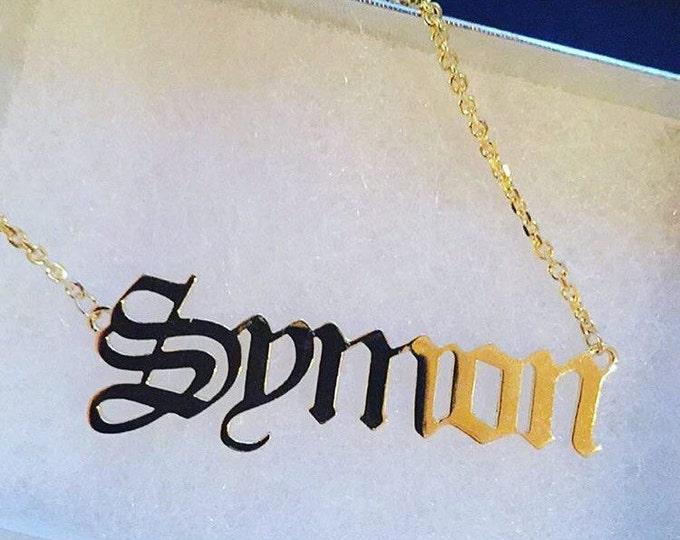 Custom Name Necklace Symon (Old English) Style in 14k Gold
