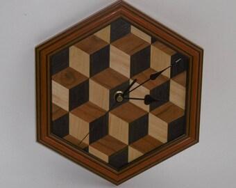 Louis Cube Wood Veneer Wall Clock