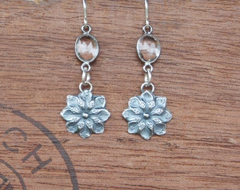 Antique French Style Flower and Rick Crystal Earrings