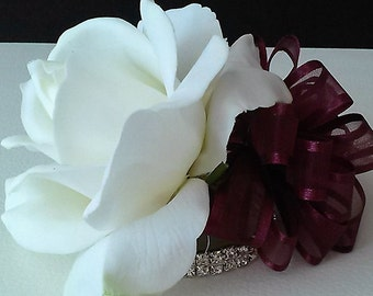 Burgundy Real Touch Rose Wrist Corsage-White Corsage-Wedding Corsage-Prom Corsage-Homecoming Corsage